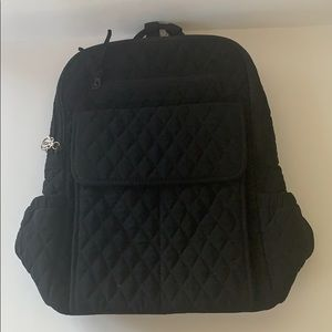 EUC Vera Bradley black quilted backpack